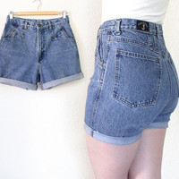 Vintage 90s High Waist Cutoff Western Wear Jean Shorts - Women's Curvy Medium Blue Rinse Cuffed Denim Shorts - Size 9 10 - 30 Inch Waist