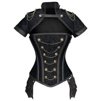 Black Steampunk Overbust Jacket Corset