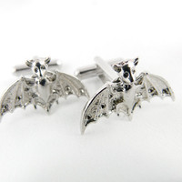 Gothic Silver Bat Cuff Links by angelyques on Etsy