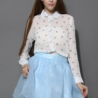 Cranes Print Chiffon Shirt in White