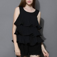 Summer Showers Tiered Chiffon Top in Black Black S/M