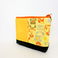 Little Zipper Pouch Small Cotton Pouch Coin Purse  - Retro Phones in Yellow, Orange and Grey