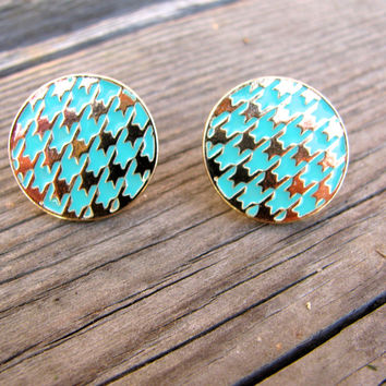 Houndstooth Stud Earrings - Mint