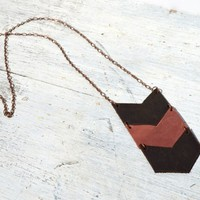 Leather Chevron Necklace Casual Boho Long Necklace (1471)
