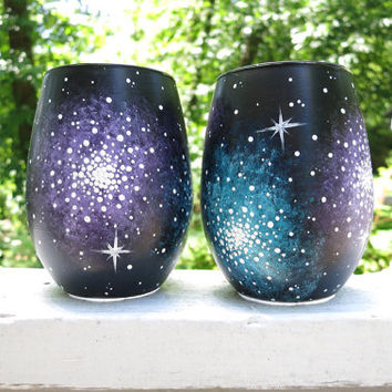 Hand painted galaxy stemless wine glass set