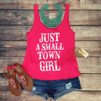 SMALL TOWN GIRL TANK TOP IN HOT PINK  LaRue Chic Boutique