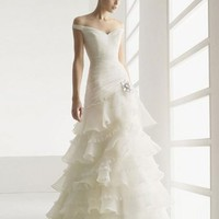 Charming A-line Off The Shoulder Organza Wedding Dress Bridal Gown