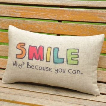 OJIA Cotton Linen Words Printed Home Decorative Throw Pillow