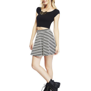 Dot & Striped Skater Skirt | Wet Seal