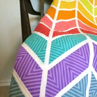 Handmade Chevron Baby Quilt - Modern Baby Quilt - Bright Colored Fabric - White Cudly Minky Backing - Baby Blanket - Crib Bedding