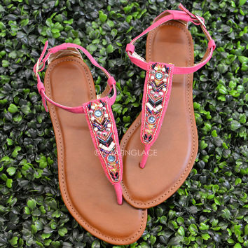 Indian Hills Pink Beaded Sandals