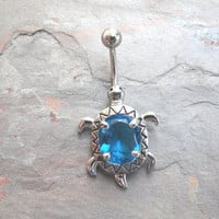 Aqua Turtle Belly Button Ring Jewelry