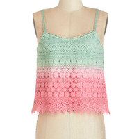 ModCloth Boho Short Spaghetti Straps Cropped Wishing for Watermelon Tank