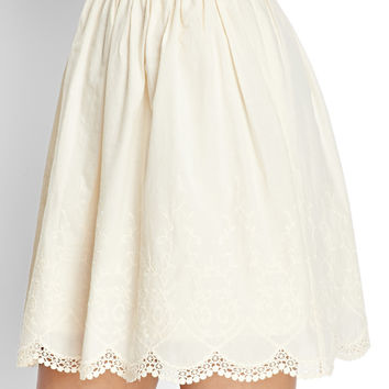 Embroidered Woven Scalloped Skirt