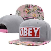 OBEY Floral Snapback Hats Grey Top Quality Men Women's Classic Baseball Caps
