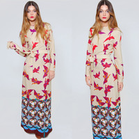 Vintage 70s BIRD Print Maxi Dress ASIAN Heron Print Belted Dress Boho Gradient Op Art Dress