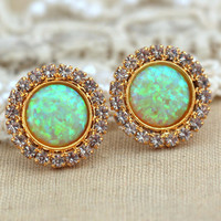 Yellow green Opal stud earrings with white rhinestones, bridesmaids jewelry,wedding jewelry ,Opal studs-  Gold plated swarovski earrings