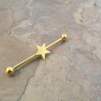 Gold Star Industrial Barbell Piercing Upper Ear Ring