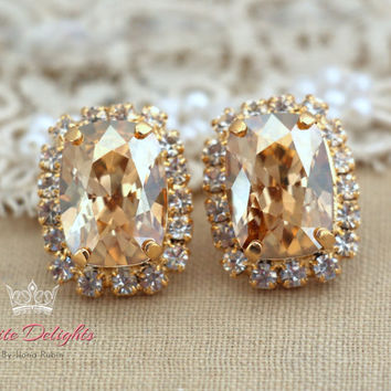 Topaz Champagne stud earrings, Estate earrings, Swarovski gold earrings, Bridal earrings, bridesmaids earrings, gift for woman plated gold .