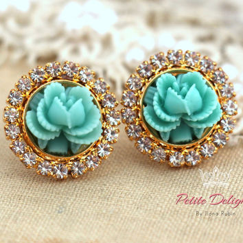 Turquoise Rose crystal stud earrings, swarovski earrings,shabby chic style earrings, gift for woman, romantic jewelry - Gold Plated earrings