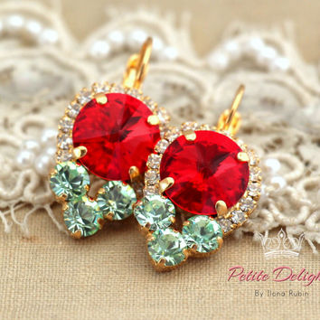 Mint Red Gold Drop earrings. swarovski drop earrings, Rhinestone lever back earrings, gift for woman, mother of the bride earrings