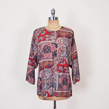 Baroque Blouse Baroque Print Blouse Paisley Blouse Paisley Print Top Batwing Sleeve Blouse Dolman Sleeve Top Slouchy Top Oversize Top 80s M