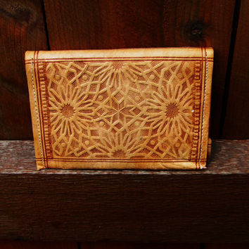 vintage Morrocan natural leather wallet. vintage leather passport holder.