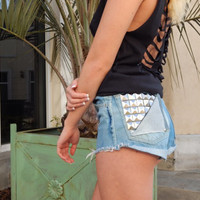 Plus Size High Waisted Shorts - Torn Studded Back Pocket