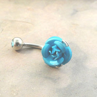 Turquoise Rose Flower Belly Button Jewelry Ring