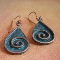 Copper Spiral Patina Earrings | mocahete - Jewelry on ArtFire
