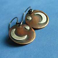 Goddess Earrings Copper, Sterling Silver Moon  And Star | mocahete - Jewelry on ArtFire