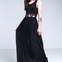 Black Crochet Cut Out Maxi Dress - LoveCulture