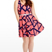 Plus Size Geo Belted Flare Dress | Fashion To Figure