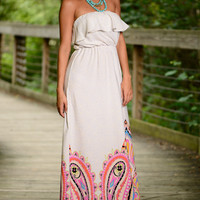 Flounce Into Spring Maxi, Ivory