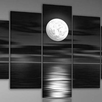 Wieco Art - White Full Moon in the Night 100% Hand-painted Best-selling Quality Goods Wood Framed on the Back High Q. Wall Decor Floral Oil Paintings on Canvas 5pcs/set