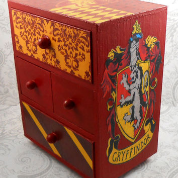 Custom Gryffindor Red and Gold Harry Potter Stash Jewelry Box