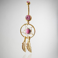 14 Gauge Gold Dreamcatcher Pink Stone Banana Belly Button Ring
