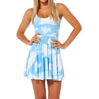 Summer Sexy Women Clouds Reversible Skater Dress Knee-length Party Dress (S)