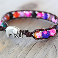 Elephant Bracelet - Leather Beaded Wrap - Bohemian Jewelry - Elephant Jewelry - Beach Boho - Summer Jewelry