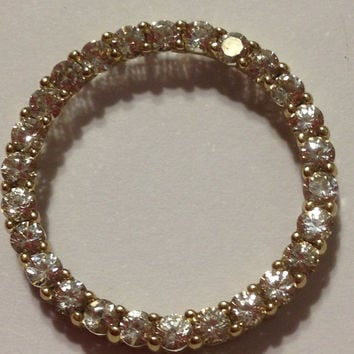 10K CZ Circle Pendant Yellow Gold Enhancer Charm Slide Faux Diamond 10KT Vintage Necklace Love Bridal Wedding Sparkly Stamped Genuine Gift