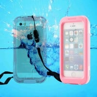 CellBee® Capture Armor Universal Waterproof Heavy Duty Crystal Case with Strap for Iphone 4/4s/5/5s/5c (Pink)