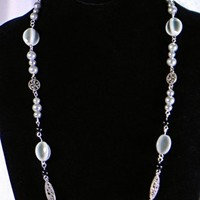 Sea green Swarovski Pearls Ceramic Beads Antique Silver Chain Trio Set