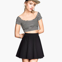 H&M - Off-the-shoulder Top - Black/White striped - Ladies