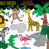 Jungle Animal Digital Clip Art jungle animal clip by GreatGraphics