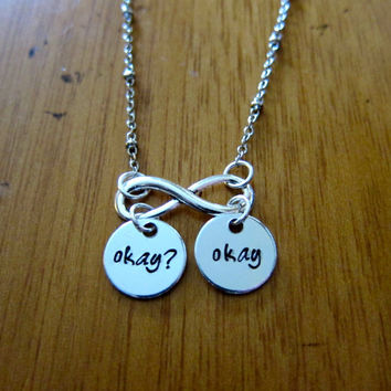"The Fault in our Stars Inspired ""Okay? Okay"" Necklace. Hazel and Augustus Infinity symbol. Silver…"