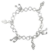 Sterling Silver Music Notes Bracelet