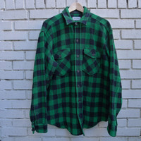Vintage L.L. BEAN Flannel Jacket Green Black Plaid Button Up Wool hunting outdoors hiking outerwear vtg ll bean flannel Shirt