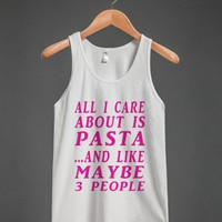 ALL ABOUT PASTA-PINK-TANK TOP-JH - glamfoxx.com - Skreened T-shirts, Organic Shirts, Hoodies, Kids Tees, Baby One-Pieces and Tote Bags