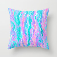 Aqua Melt Throw Pillow by Lisa Argyropoulos