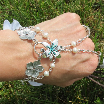 Sized Bracelet Ring, Flower, Pearl, Aqua, Beach Inspired, Hand Jewelry,Nautical, Custom, Bracelet